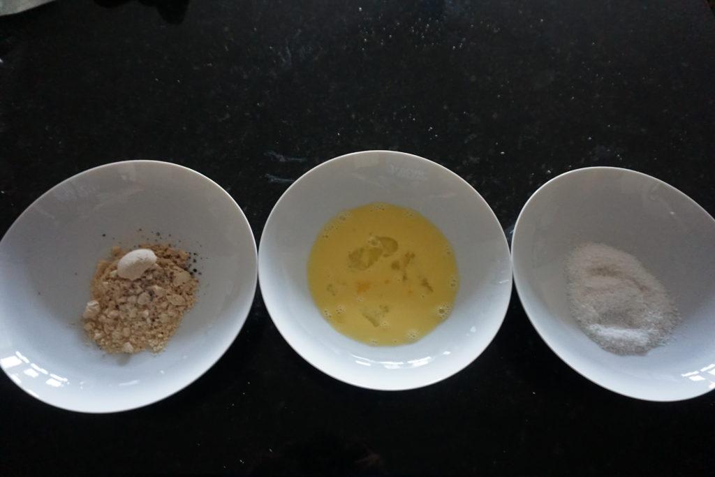 Coconut Flour, Egg Wash, Coconut Flakes.