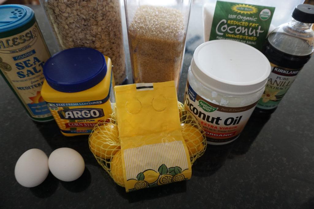 Coconut Lemon Bar Ingredients.