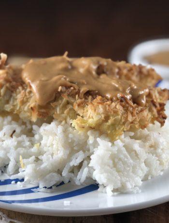 Baked Coconut Breast over Jasmine Rice