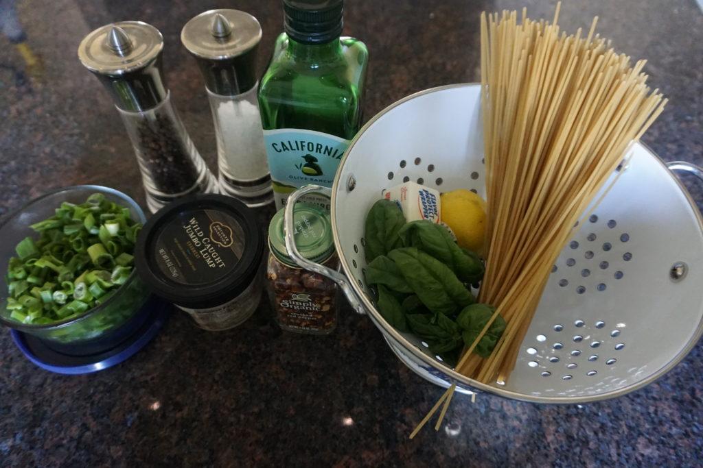 Crab Pasta Ingredients.