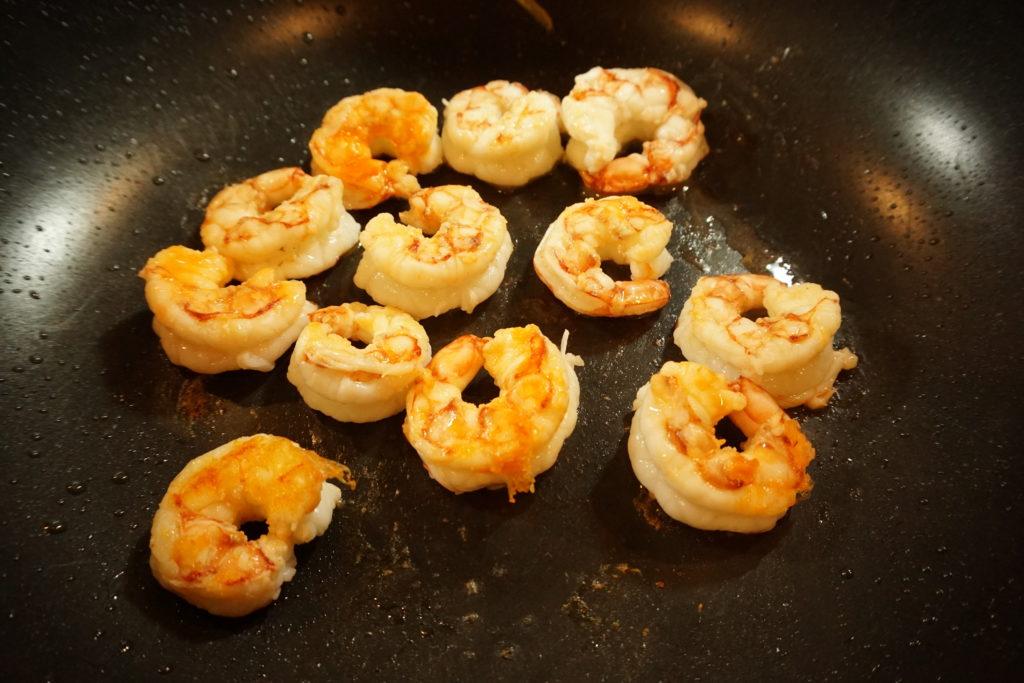 Stir Frying Shrimp.