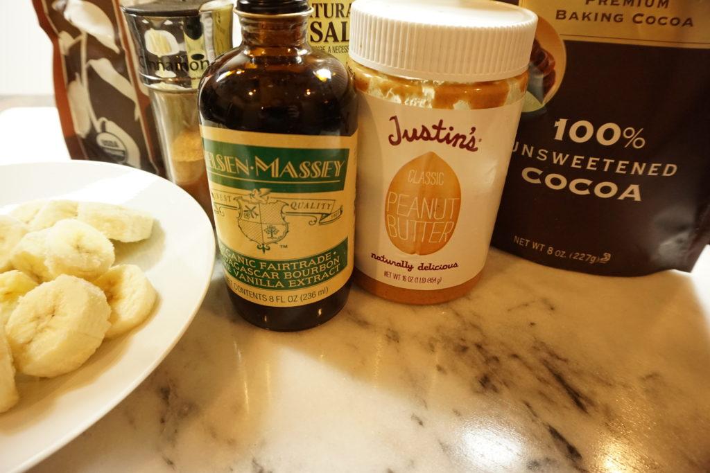 Peanut Butter Chocolate Banana Ice Cream ingredients. FODMAP desserts