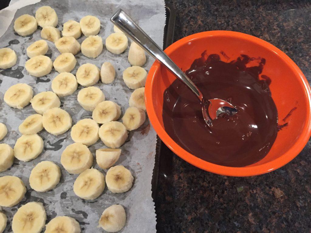 Sliced Bananas and chocolate