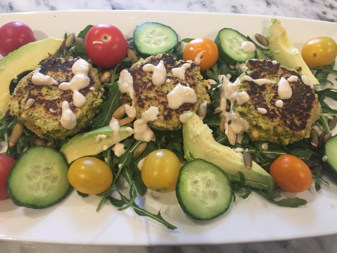 Baked Falafel Arugula Salad