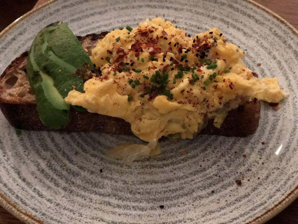 Takk Coffee Shop: scrambled eggs over sourdough bread