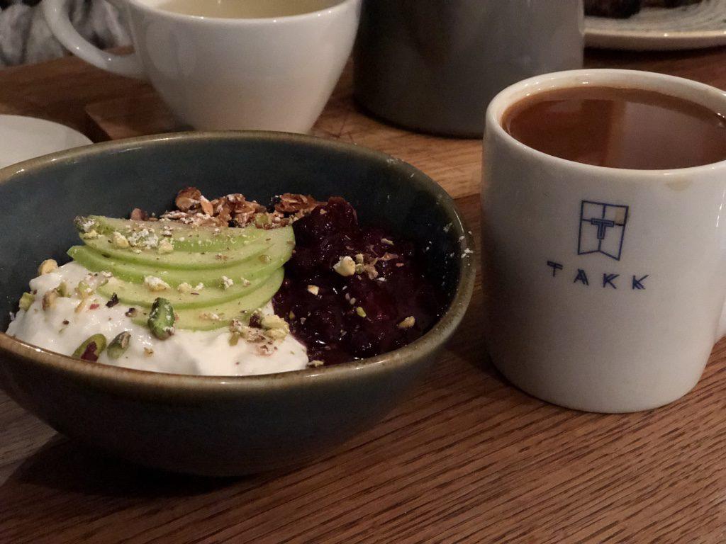 Takk Coffee Shop: coconut yogurt and gluten free granola with coffee