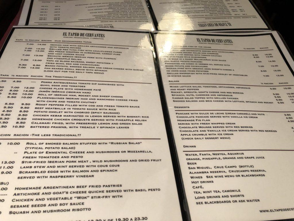 Massive menu at El Tapeo de Cervantes