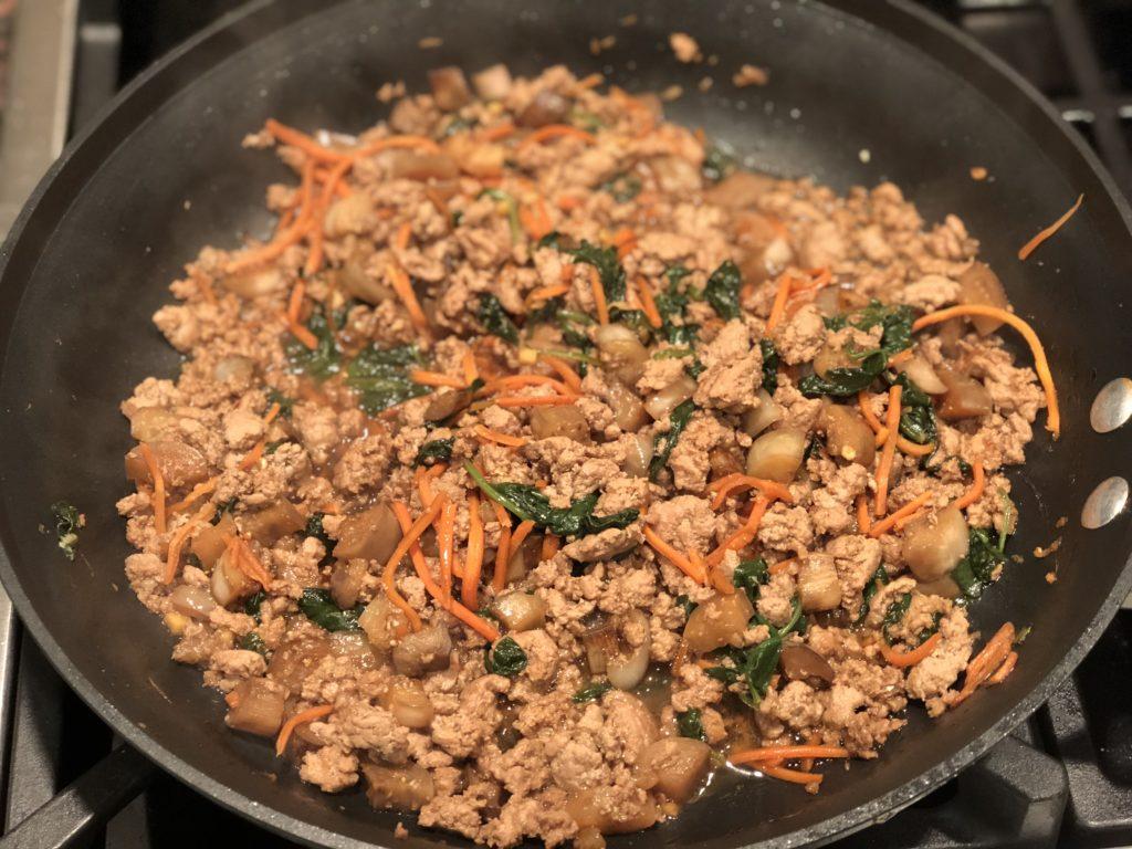 Ground turkey, sauce & veggies