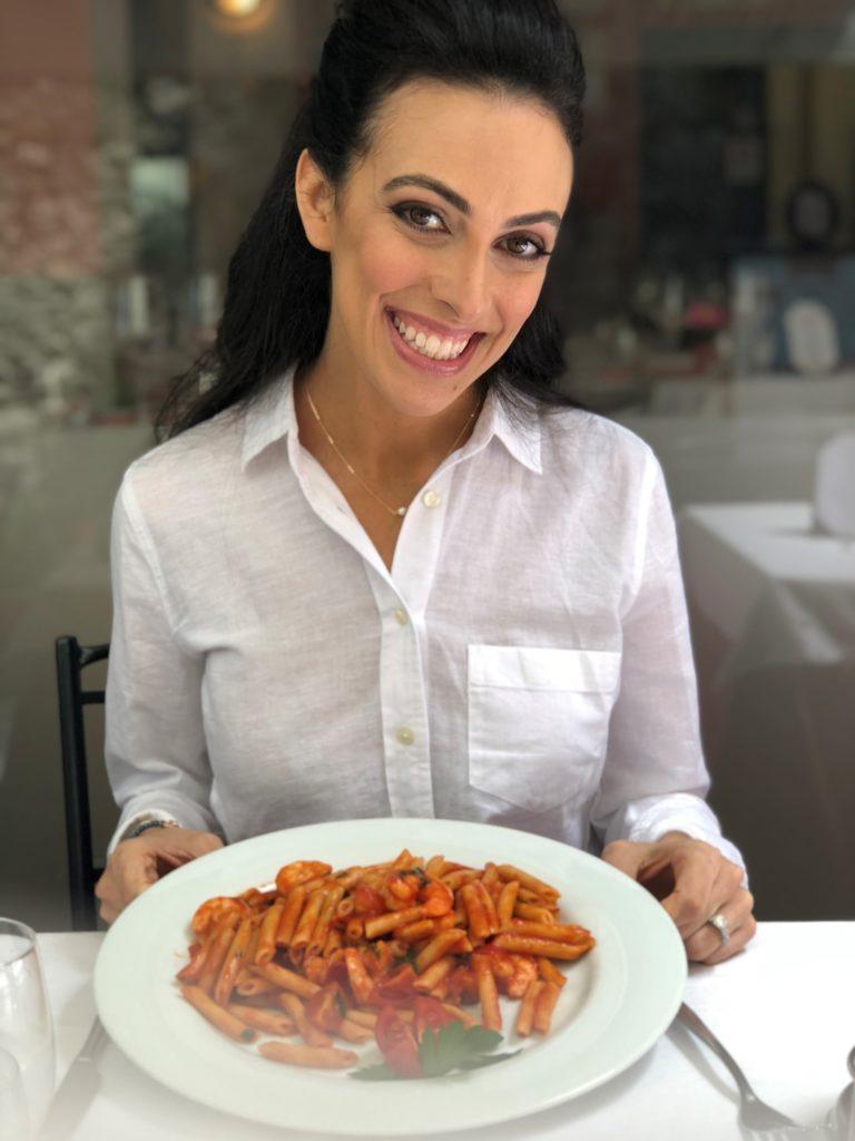 I'm enjoying a big bowl of gluten-free pasta from La Fontana in Lake Como, Italy.