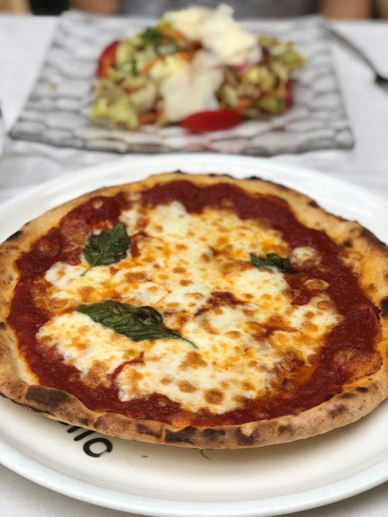 Gluten Free Pizza and a salad at Ristorante Tasso, Sorrento