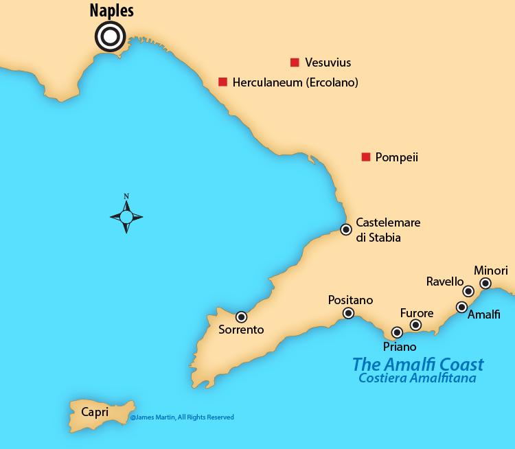 Map of the Amalfi Coast.