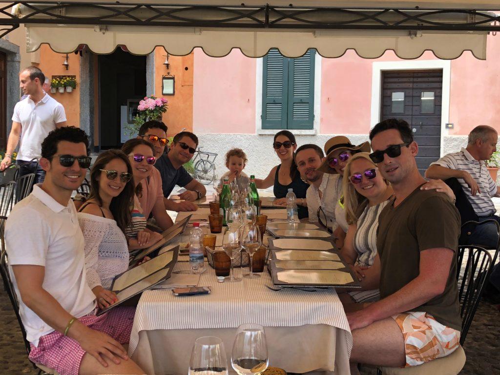 Lunch at Locanda La Tirlindana - friends enjoying a beautiful view overlooking Lake Como.
