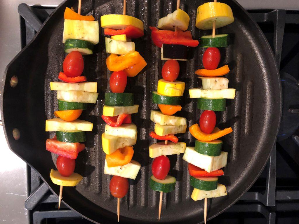 Vegetable Skewers on Indoor Grill Pan