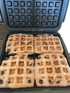 FODMAP safe breakfast waffle ready to eat!