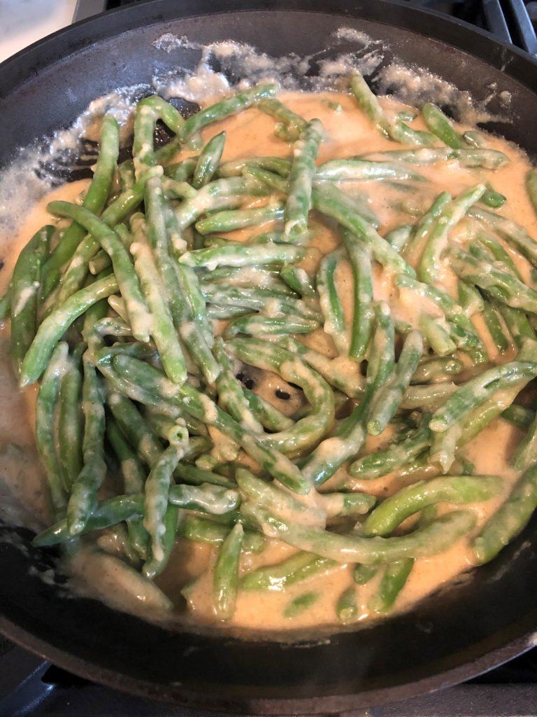 Low FODMAP Green Bean Casserole in the Making